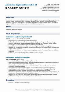 Medical Assistant Resume Format Automated Logistical Specialist Resume Samples Qwikresume
