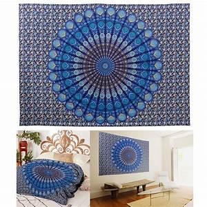 Tenture Murale Tapisserie De Mandala 210x146cm Plumes Paon