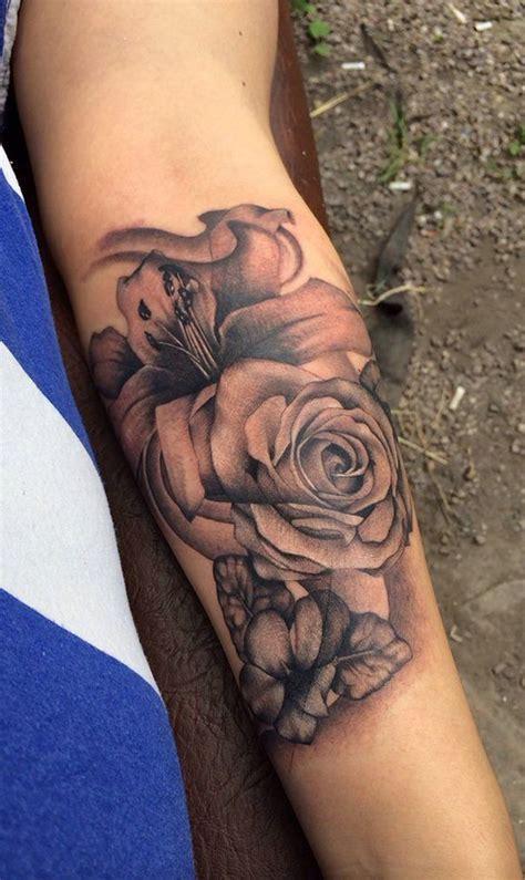 black vintage rose forearm tattoo ideas  women www