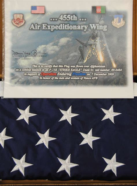 I expect to put it on ebay as an auction item soon. Special flag flies above Afghanistan, Vance > Vance Air ...
