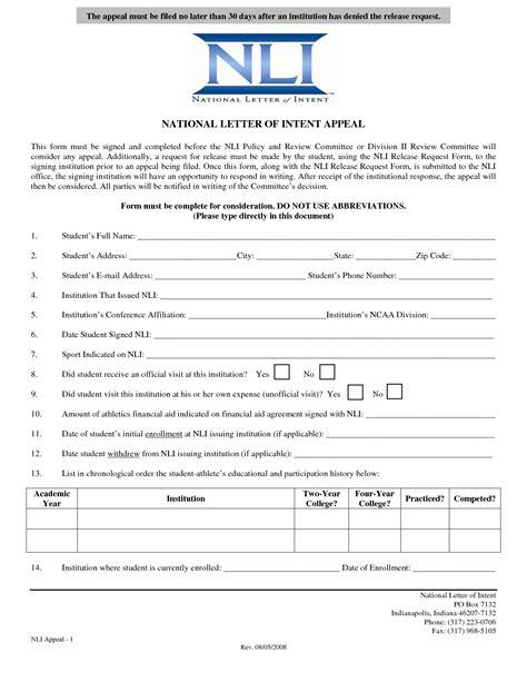 national letter  intent templatenational letter