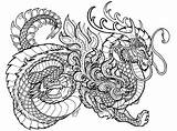 Coloring Dragon Pages Printable Adults sketch template
