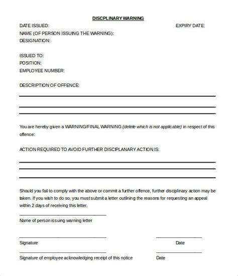 Late lunch break warning letter template. 33+ HR Warning Letters - Free Sample, Example Format | Free & Premium Templates