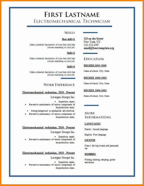 Cv Template Word by 6 Resume Template Word Penn Working Papers