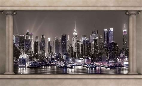 york city skyline window view wall paper mural buy