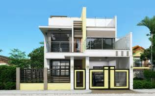 2 house designs prosperito single attached two house design with roof deck mhd 2016023 eplans