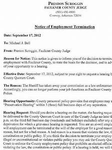 Notice Of Termination Letter Notice Of Employee Termination Nwaonline