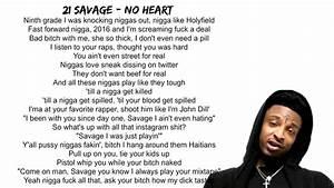 21 Savage No He... Heart Lyrics Quotes