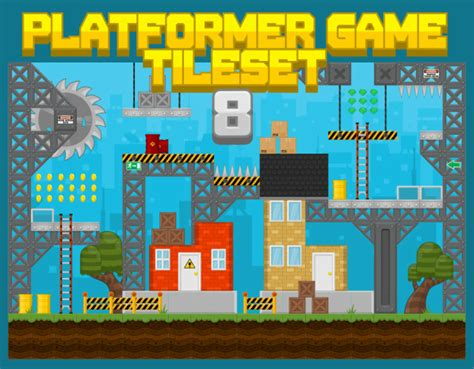 city construction platformer game tileset game art