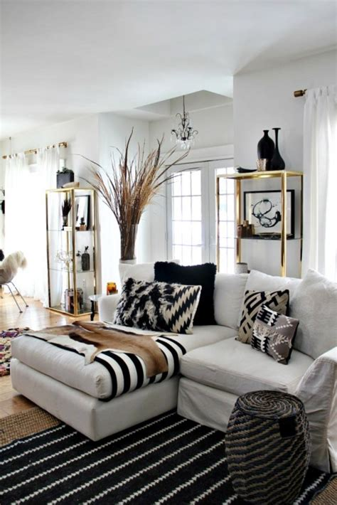 Black And White Striped Curtains Target by 48 Black And White Living Room Ideas Decoholic