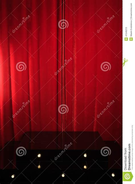 podium drape podium on a background of drape curtains stock
