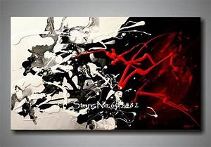 100% Hand Painted Discount Large Black White And Red