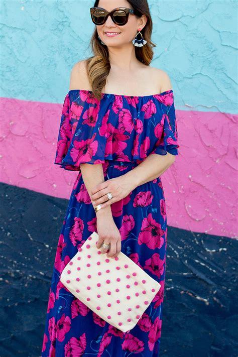 floral   shoulder maxi dress