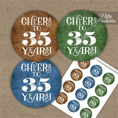 birthday cupcake toppers linen cheers  years
