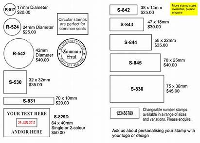 Stamps Sizes Chart Self Inking Common