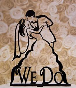 Kissing Bride an Groom silhouette wedding cake topper with We