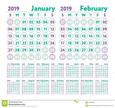 calendar vector english calender january february march stock