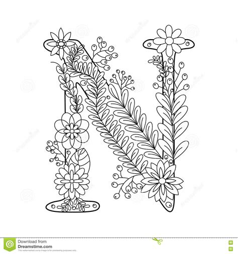 Kleurplaat Letter N by Letter N Coloring Book For Adults Vector Stock Vector