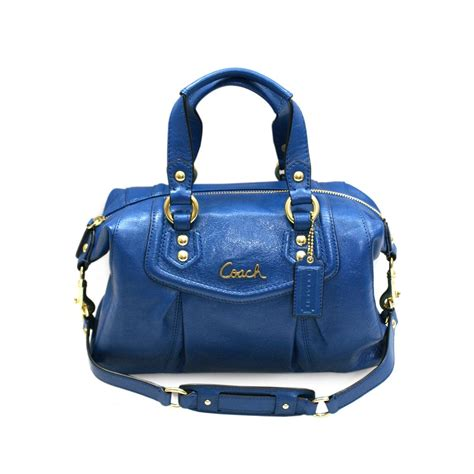 coach ashley leather satchel shoulder bag cobalt blue