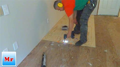 subfloor leveling  plywood  concrete