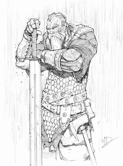 Warrior Sketch Deviantart Dunbar Character Comic Drawing