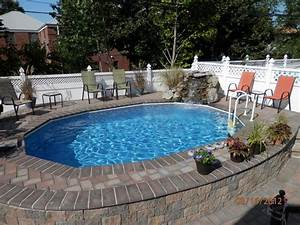 Semi inground pools with decks high rise semi inground for Inground swimming pool designs ideas