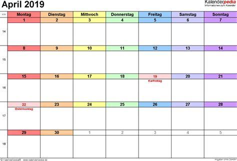 kalender april als word vorlagen