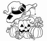Halloween Colorings Pages Coloring Printable Colouring Cat Pumpkin Them Pumpkins Witch sketch template