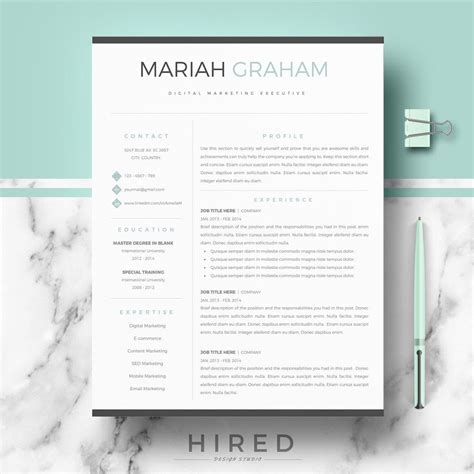 professional resume template for word pages modern