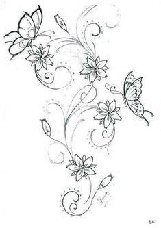 blumenranke bl ten filigran  vine tattoos tattoo
