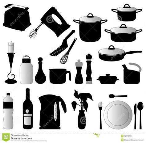 kitchen objects silhouette vector stock photography