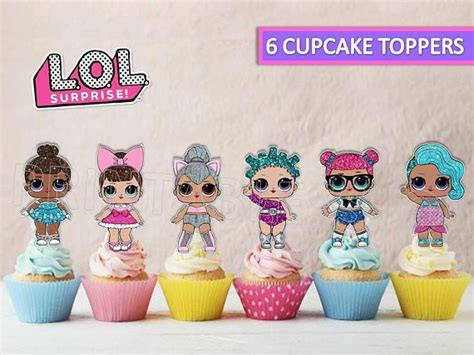 16x Edible Lol Surprise Dolls Cupcake Toppers Birthday Party