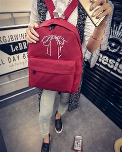 2016 Women Backpacks Bow Brand School Bag Lace Canvas