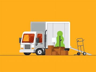 Truck Movers Dribbble Flat Packers Moving Animated