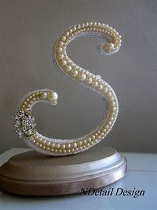 wedding cake topper monogram pearl and rhinestone by With rhinestone letters for cakes