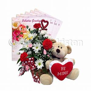 Flowers Basket With Beautiful Teddy Bear for Someone ...