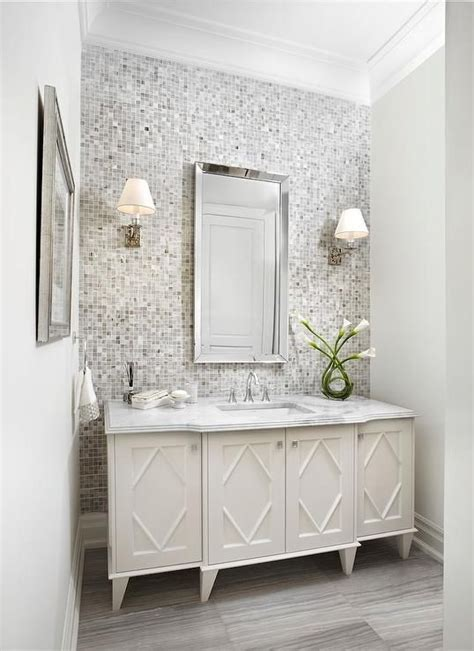 white  gray bathroom features  gray mosaic tiled