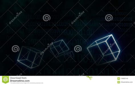 connection internet blue glowing blocks blockchain