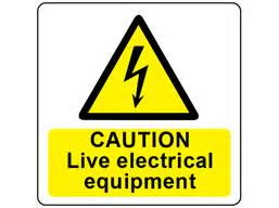 caution live electrical equipment symbol and text safety With electrical equipment labels