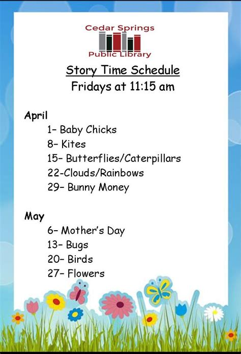 storytime for april may 2016 126 | Storytime Schedule April May 2016 for web