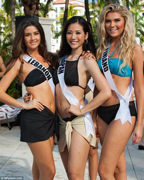 nadine labaki bikini miss lebanon poses with miss israel at miss universe