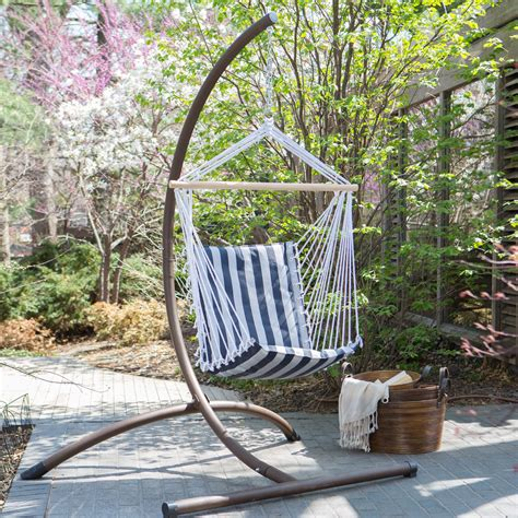 Hammock Chair With Stand by Island Bay Navy And White Stripe Padded Sling Hammock