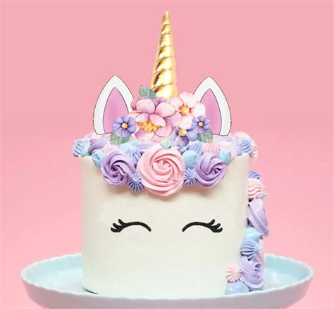 large unicorn gold horn pink flowers edible cake topper