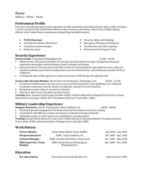 Infantry Resume Exles by Infantryman Resume Template 7 Free Word Pdf Document