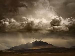 Landscape, Nature, Mountain, Clouds, Storm, Sky, Huge, Snowy, Peak, Road, Daylight, Wallpapers, Hd