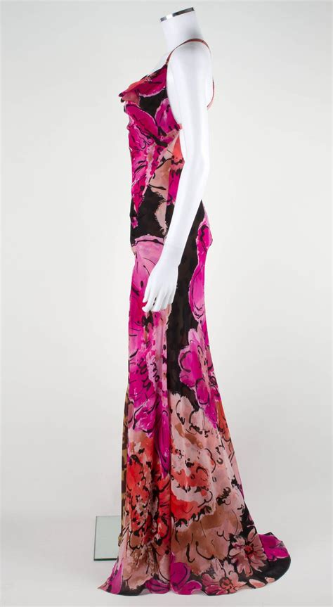 gianni versace couture floral leopard print silk evening