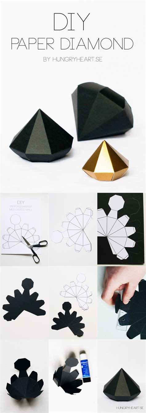 Diy Paper Diamond Tutorial With Free Template  Hungry Heart