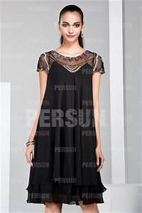 Robe Boheme Courte : robe boh me courte noire encolure illusion perl e pour ~ Melissatoandfro.com Idées de Décoration