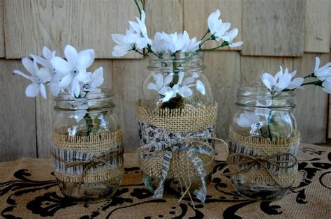 decorating jars with fabric blues trio jars wrapped in burlap coordinating