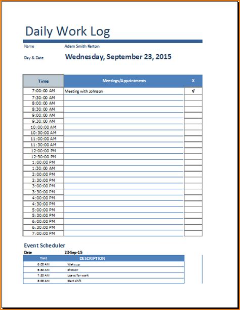 daily log template 5 daily work log template teknoswitch